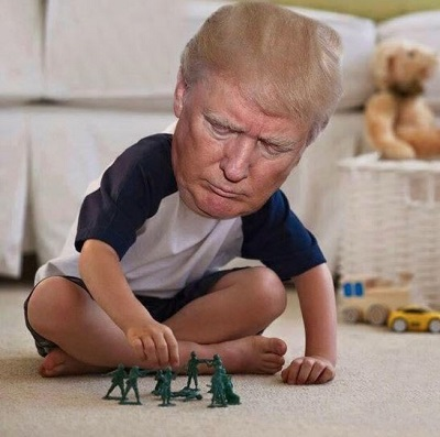 Trump playing with toys